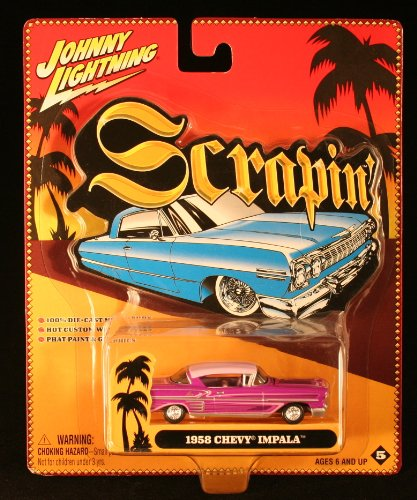 1958 CHEVY IMPALA * PURPLE * 2003 Scrapin' Series Johnny Lightning 100% Die-Cast Metal 1/64 Scale Vehicle - 1