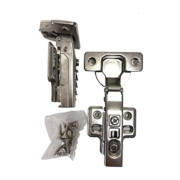 Onus 509T 105 Degree 35mm Full Overlay Self Closing Frameless Kitchen Cabinet Door Hinges Nickel Plated Finish (2 Pairs) (Color: Silver)