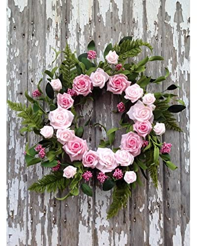 Mills Floral Pink Rose Bouquet Wreath