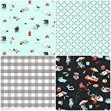 Pug Dogs, Spots & Gingham - Blue Black Grey White Fabric Bundle - MMFB123 - Dof Fabric, Spotty Fabric, Gingham Fabric Bundle - 4 Fat Quarter Fabric Bundle - 4 Fat Quarters (55 x 50 cm pieces) - 100% Cotton