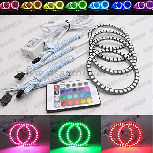 Newsun Dia 100Mm Rgb 5050 Angel Eyes Rings Car Led Multi-Color Flashing Halo Lamps Remote Control Kit Universal Fit For Cars Motors