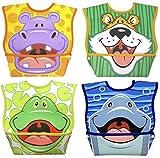 Dex Baby Dura-bib Big Mouth- 4 Pack (Hippo, Tiger, Frog, Dolphin)