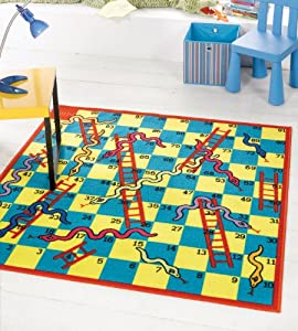 "Very Large Kiddy Snakes Ladders Game Play Mat Washable Hardwear Kids Children Rug in 135 x 135 cm (4'5"" x 4'5"")Square Carpet from Lord of Rugs"