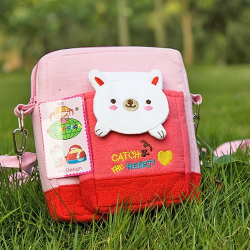 [White Bunny] Embroidered Applique Swingpack Bag Purse / Wallet Bag / Camera Bag (5.4*5.9*2)