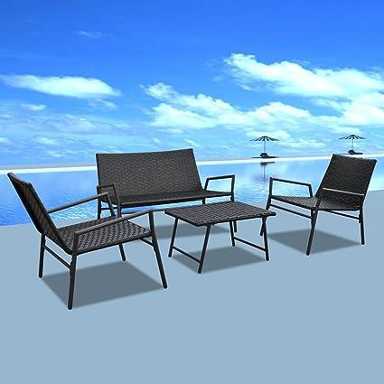 Conjunto de Silla de Ratán de Exterior Conjunto de Muebles de Jardín 4 Piezas Color Negro