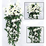 Colorfulife 2pcs/lot Artificial Lifelike Silk 35 Lily Bracketplant Hang Flower Vine Rattan Cane Garland Wall Hanging...