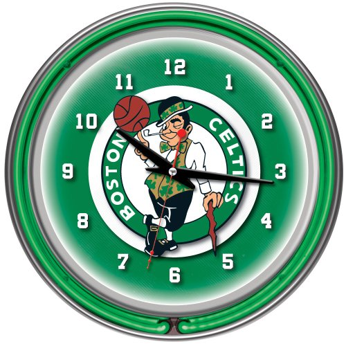 Boston Celtics NBA Chrome Double Ring Neon Clock, 14-Inch, Green