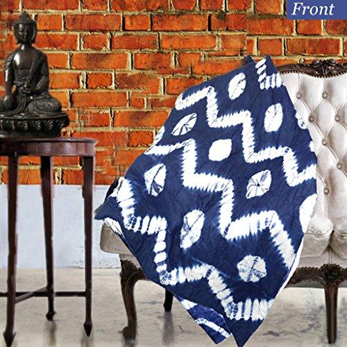 KraftDirect Boho Throw, Indigo Throw, Shibori Throw, Tie Dye Throw Decorative Throws For Sofa, Quilted Throws For Sofa, Sofa Throw Cover (Indigo Blue - Waves) (Tie Dye Quilt compare prices)