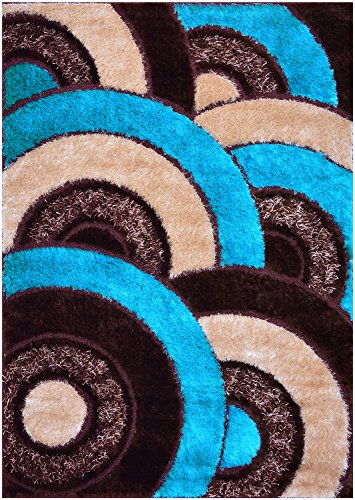 "Royal Collection Turquoise Blue Brown Abstract Circles Contemporary Design Shaggy Area Rug (6056) (5'1""X7'1"") front-642567"