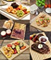 Beautiful Bamboo Wood Cutting Board & Serving Platter Set: 2-Piece Wooden Pastry/Cheese Boards