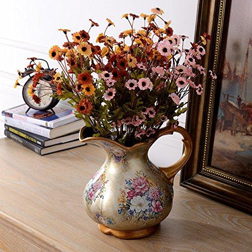 qwer Continental dipinte a mano e vasi in ceramica kit floreali soggiorno tavolo da pranzo caffè emulazione di vasi di fiori fiori artificiali ornamenti , le colline in daisy 3 CABLAGGIO ELETTRICO