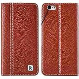 Rovski アイフォン6/6s用 財布型カバー iPhone6/6s ケース 手帳型 本革 カバー カードポケット スタンド機能 マグネット式【ブラウン】