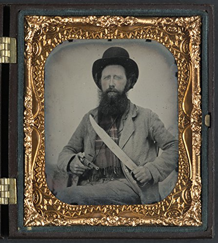 Private Thomas F. Bates of D Company, 6th Texas Infantry Regiment, with D guard Bowie knife and John Walch pocket
