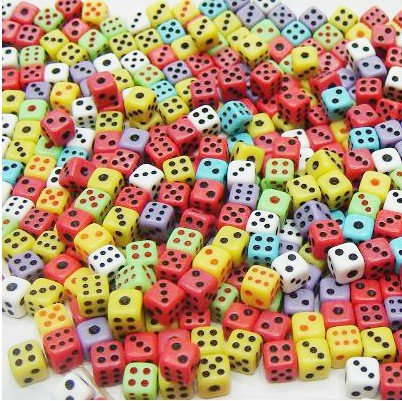 SmartDealsPro 100 Assorted 5MM D6 Mini Dice Game Dot Square Dice Set