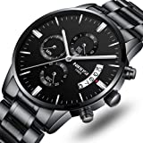 NIBOSI Men's Watches Luxury Fashion Casual Dress Chronograph Waterproof Military Quartz Wristwatches for Men Stainless Steel Band Black Color (Color: Black, Tamaño: Medium)
