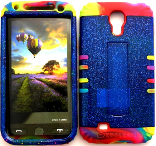High Impact Hybrid Cover Case For Samsung Galaxy S4 Lv I9500 Blue Glitter Snap On + Rainbow Gel With Screen Protector, Purple Stylus Pen, Cleaning Cloth And Earphone Winder By Wireless Fones front-55714