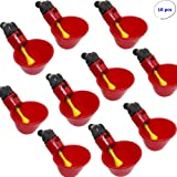 WShop 10pcs Poultry Water Drinking Cups - Chicken Hen Quail Bird Plastic Automatic Drinker – USA! (Color: Red)