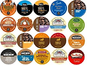 20-count K-cup for Keurig Brewers Coffee Variety Pack Featuring Green Mountain, Newman's Own Organic, Coffee People, Emeril's, Donut House, Caza Trail, Grove Square Cappuccino, Tim Horton's, Martinson, Marley, & Brown Gold Coffee