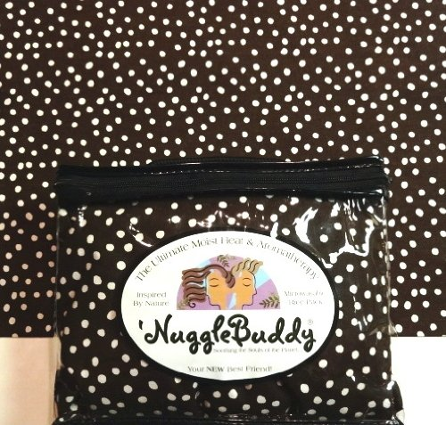 """'Nugglebuddy Microwaveable Moist Heat & Aromatherapy Organic Rice Pack. Cold Pack. """"Dark Chocolate Dot"""" Fabric With Mint Chocolate Scent!"""