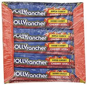 Jolly Rancher Stix Hard Candy, Cherry, 0.65-Ounce Package, 36-Count (Pack of 3)
