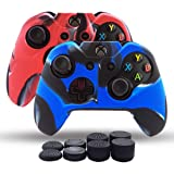 Skin Cover Pack 2 for Xbox One/Xbox One Slim/Xbox One X Controller Dual Thicker Silicone Skin Anti Slip Grip Case Protector - 8pcs Pro Thumb Grips-Camo Red + Camo Blue
