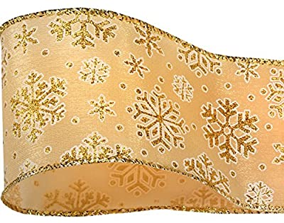 60mm Gold and White Snowflake Wired Ribbon 3m