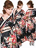 (ジークィーン) G-QUEEN 9294サテン花魁さくらん和柄帯リボンSetぉ着物ロングドレス