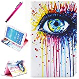 Galaxy Tab 4 8.0 Case,Yummi Colorful Side Flip PU Leather Wallet Case New STAND Cover Skin with Card Slots and Magnetic Flip Closure For Samsung Galaxy Tab 4 8 8 Inch SM-T330 / T331 / T335+ One Free Stylus [Colorful eye]