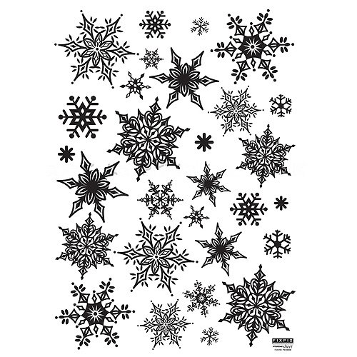 Christmas Holiday Time Reusable Wall Decoration Stickers - Ornate Snowflakes