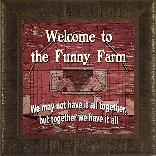 Funny Farm By Todd Thunstedt 17.5X17.5 Farm All Farming John Deere Ih Farmall Allis Ford Combine Pig Sheep Lamb Holstein Dairy Hereford Beef Angus Jersey New Verse Framed Art Print Wall Décor Picture