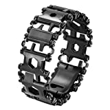 Multi Tool Bracelet,LETIN Stainless Steel Wearable Tread Multifunctional 29 IN 1 Bracelet Screwdriver Tool for Sailing/Travel/Camping Hiking Outdoor Emergency Kit for Christmas Gift (Black) (Color: Black)