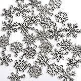 30x Mixed Tibetan Silver Various Snowflake Charm Beads Winter Xmas Finding