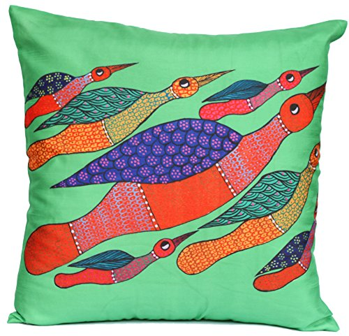 Souvnear 18 X 18 Inch Vibrant Birds Throw Pillow Cover - Very Unique Large Gond Art Square Cushion Covers In Neon-Lime-Green - Unique Holiday Gifts From India front-569590
