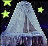 Ledyoung Mosquiteras Luminosas de las Estrellas Mosquiteros Canopy Red Exterior de Vacaciones Viajar, Blanca