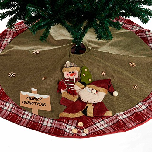 Christmas Tree Skirt Burlap Home Decor 48inch (Red)