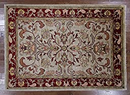 6\'x9\' Handmade Oriental Oushak Hand Knotted Floral Chobi Peshawar Wool Rug W141