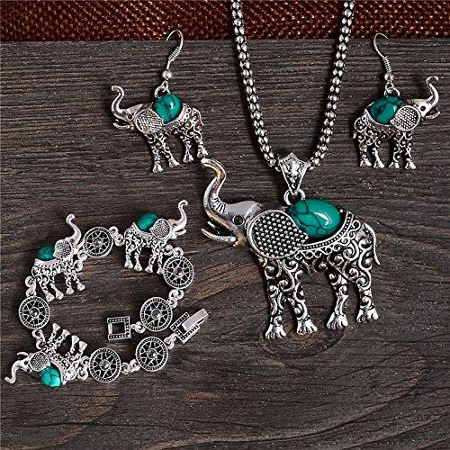 [thai elephant shape elegant jewelry set of necklace/ bracelet /earrings Mix Options 4 Color] (Hindu Bride Costume)