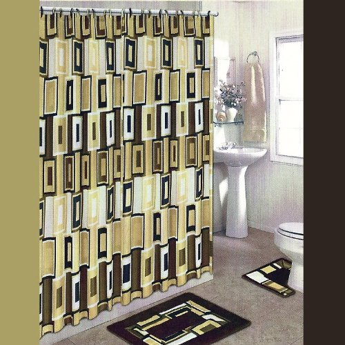 BROWN and TAN BLOCKS 15-Piece Bathroom Set: 2-Rugs/Mats, 1-Fabric Shower Curtain, 12-Fabric Covered Rings.