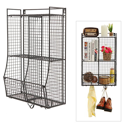 wall mounted collapsible metal wire mesh storage basket. Black Bedroom Furniture Sets. Home Design Ideas