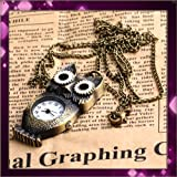 Personality Big Eyes Owl Pocket Watch Necklace Bronze Quartz