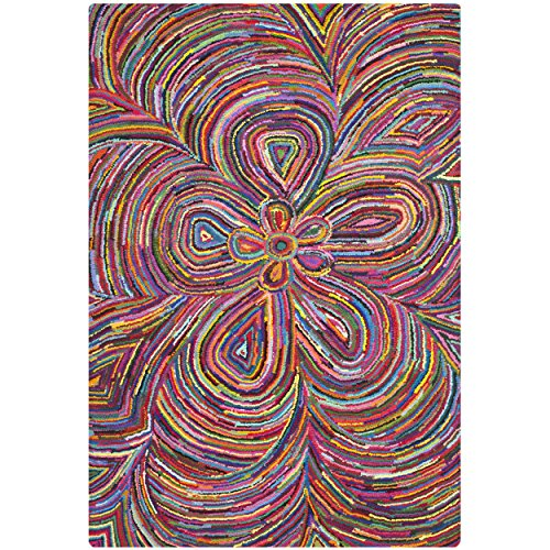 Safavieh Nantucket Collection NAN445A Handmade Multicolored Cotton Area Rug, 3 feet by 5 feet (3' x 5')
