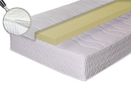 7 Liegezonen Taschenfederkernmatratze/Continental Matratze mit Viscoschaumtopper in der Größe von 90 x 200 cm, in Härtegrad 2