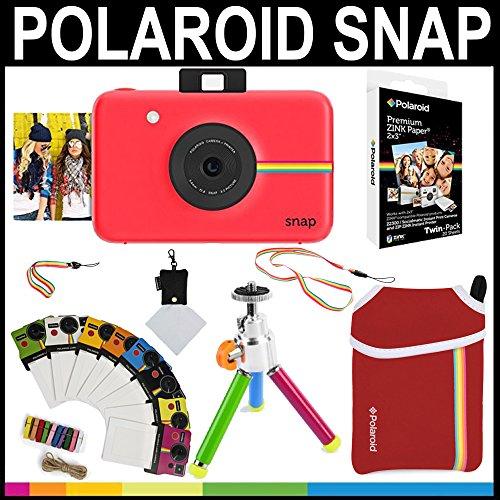 """Polaroid Snap appareil photo instantané (Rouge) + papier Zink 2 x 3 """" (Pack de 20) + pochette en néoprène + cadres de photos + ensemble d'accessoires"""