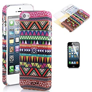 Pandamimi ULAK Pink Tribal Retro Vintage Hard Case Cover for iPhone 5 5G with Screen Protector