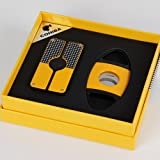 COHIBA Yellow Classic 3 Torch Jet Flame Cigar Lighter W/ Saw Blade Cutter Punch (Color: Yellow)