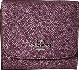 COACH SMALL WALLET IN COLORBLOCK LEATHER Silver/Eggplant