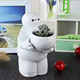 YOURNELO Cartoon Ceramic Baymax Plant Flower Pot Succulent Planters Vase (A) (Color: A)