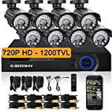 DEFEWAY 8 Outdoor 720P HD 1200TVL Home Security Camera System with 8 Channel 720P AHD Surveillance DVR No Hard Drive