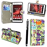 SONY XPERIA SP M35H VARIOUS PU LEATHER MAGNETIC FLIP CASE SKIN COVER POUCH + FREE STYLUS (Design 01 Multi Owls Book)