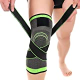 Knee Brace,C-Gardian Compression Support Knee Sleeve with Adjustable Strap Knee Pad for Pain Relief, Meniscus Tear, Arthritis, ACL, MCL,Suit for Running, Cycling, Tennis, Golf and Basketball (Color: Green, Tamaño: L)